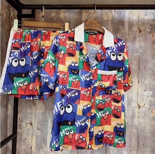 Nouveau 2019 été mode dessin animé impression soie Satin Pyjama mignon à manches courtes filles maison porter pyjamas loisirs maison porter
