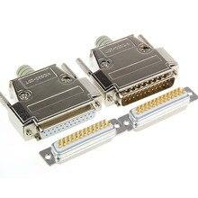 25 Pin D-SUB DB25 серийный Мужской Socket позолоченный Медь прямой крой брючин разъем 2 ряда гарпун сварные пластины разъем заклепки