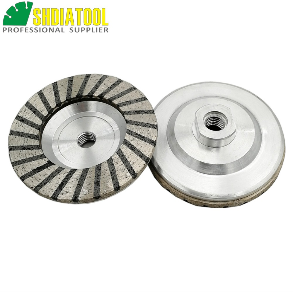 DIATOOL 2pcs Dia100mm/4 Aluminum Based Diamond Grinding Cup Wheel M14 Thread #50 #100 available Grinding Disc Granite Marble z lion 4 50 diamond turbo grinding cup wheel 50 coarse grit for concrete granite floor aluminum based diamond grinding wheel