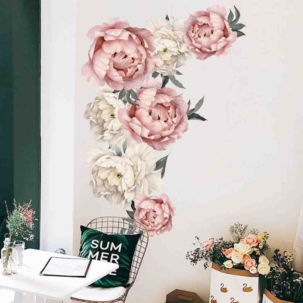 Peony Rose Flowers Wall Sticker Art Nursery Decals Kids Room Home Decor Gift PVC 40 *60cm High Quality Wall Sticker(China)