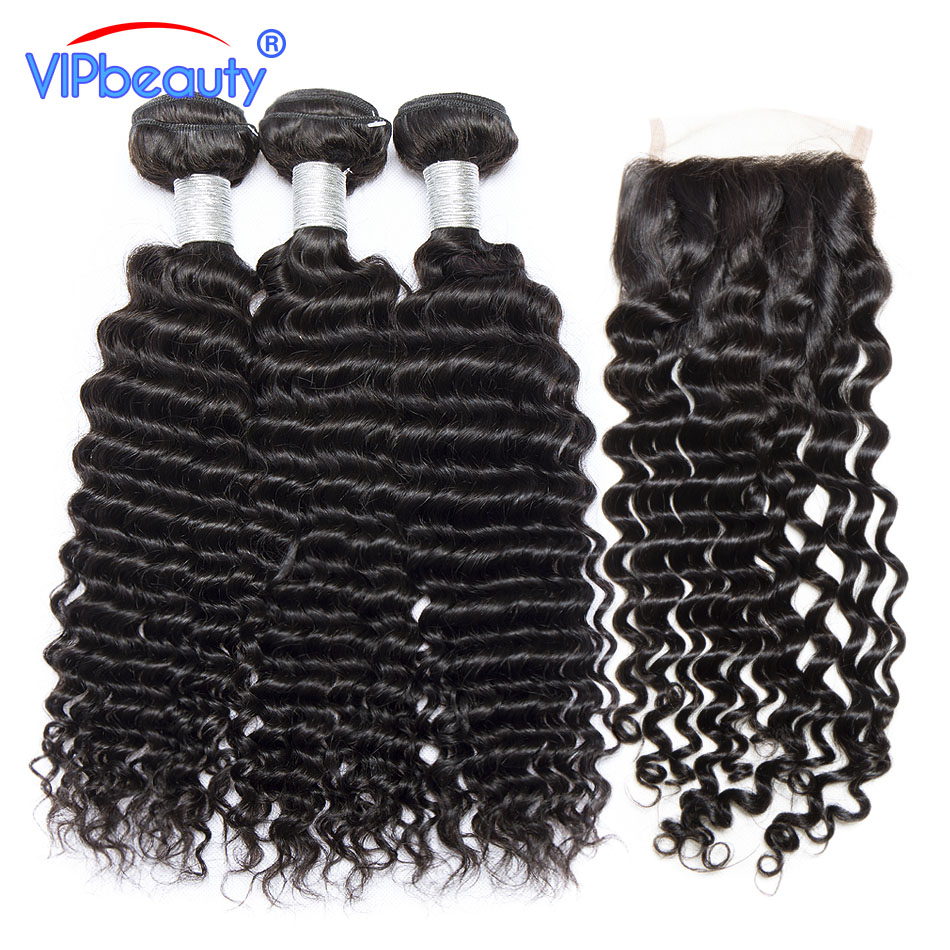 Vip Beauty Peruvian Curly Hair With Closure Human Hair Extensions 100% Remy Hair Weave 3 Bundles With Lace Closure Free Part