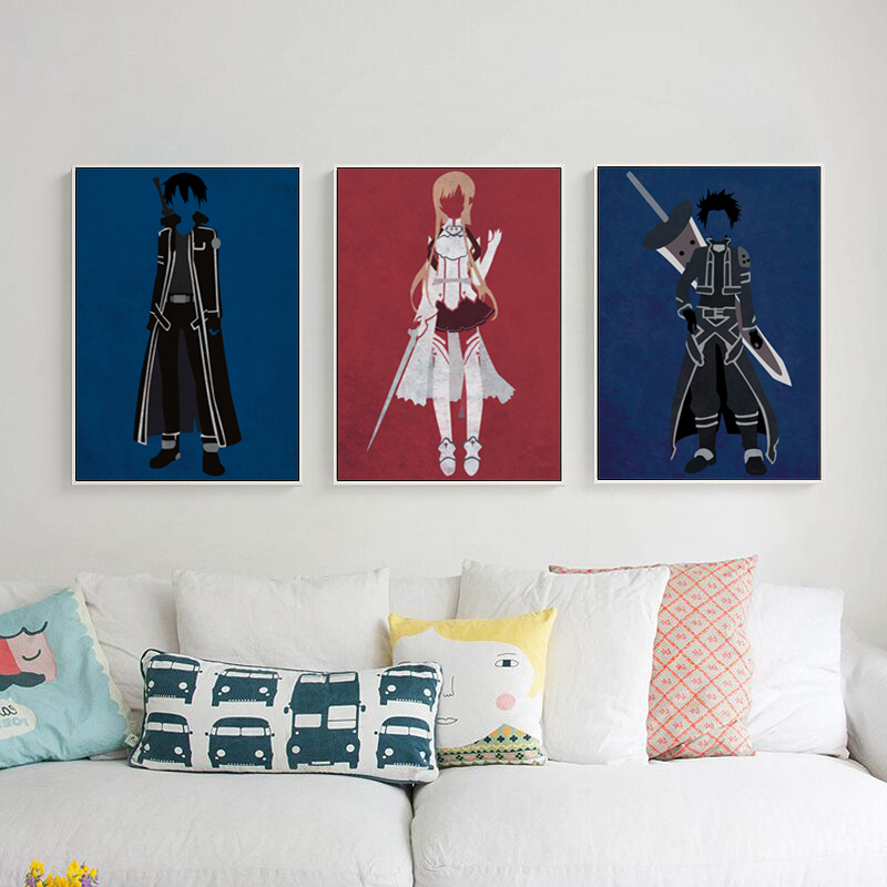moderno simple japons anime kirito asuna imagen lienzo pintura art print poster pared decoracin del dormitorio de los nios de