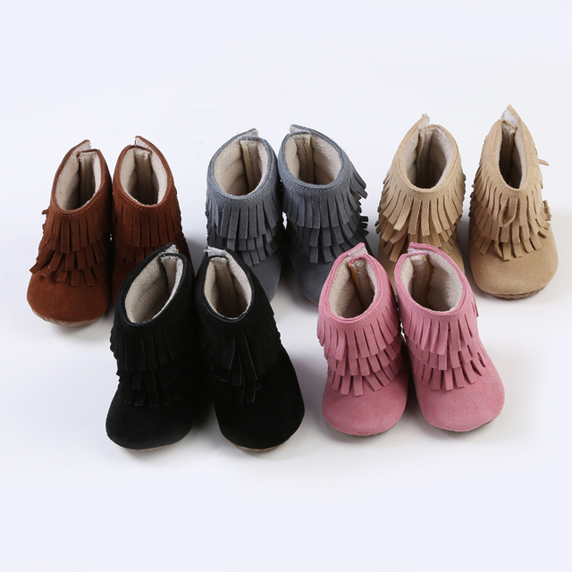 New 3 layer fringe Keep warm In winter Genuine Leather with fur hard sole Moccasins First walkers baby boots 50 pairs/lot