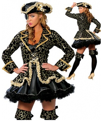 freeshipping new Medieval DELUXE LADIES PIRATE caribbean Fancy dress UP Party costume+Hat priate costume outfit plus size s 3xl