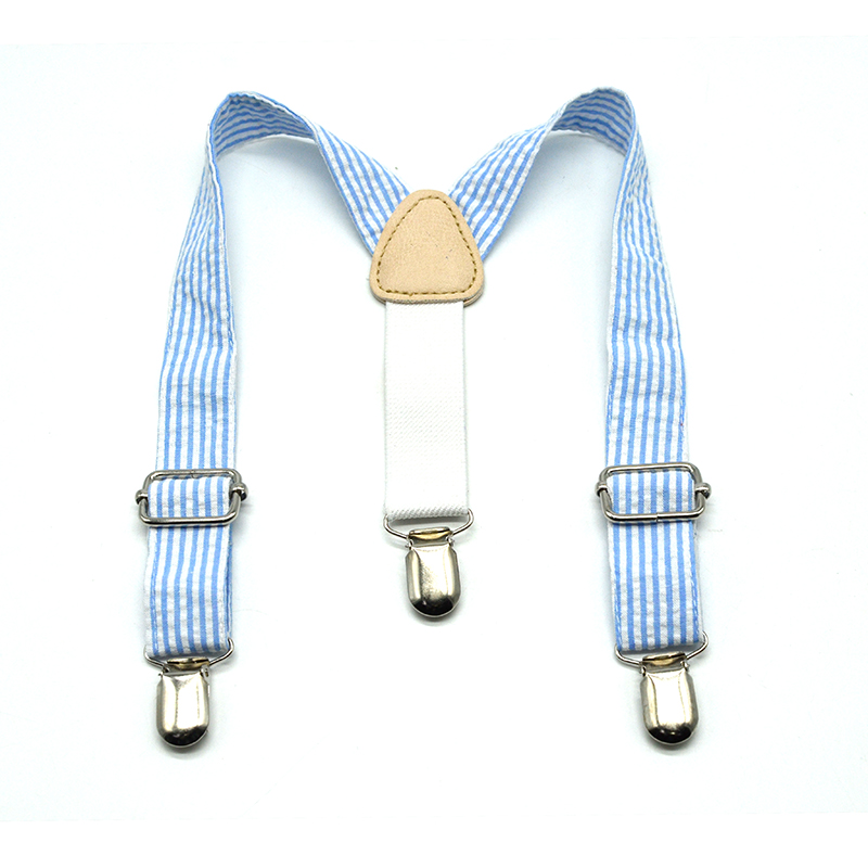 Boys's Suspenders For Kids Striped Blue Adjustment Length Popular Style For Childe Brace 3 Clips On Suspenders Kids
