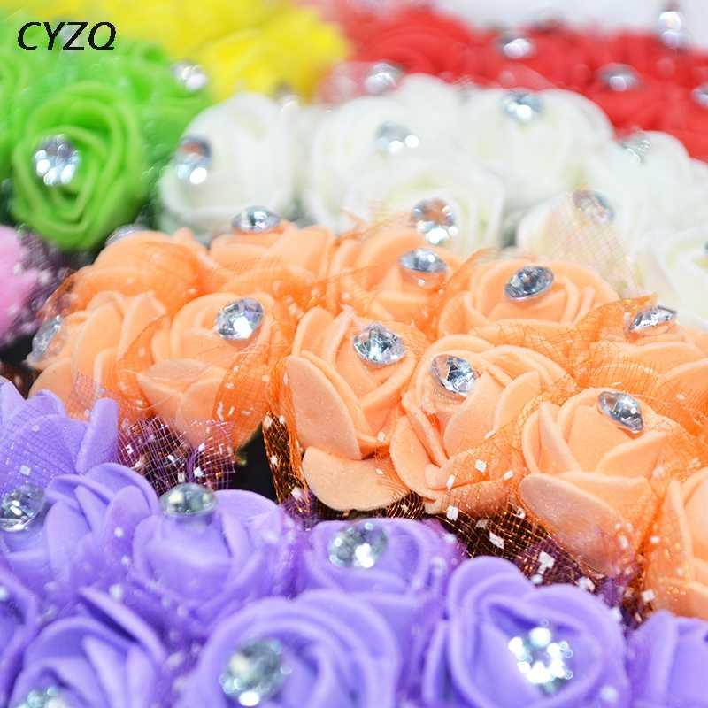 36/72/144 sztuk Mini pianka pe Rose sztuczne główki kwiatowe dekoracje ślubne domu DIY pudełko na prezent, wieniec zdobione pluszowe misie kwiat