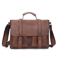 Brand Vintage Genuine Leather Business Briefcase Document Portfolio Men's Handbag Cross Body Shoulder Bag Male Messenger Bag
