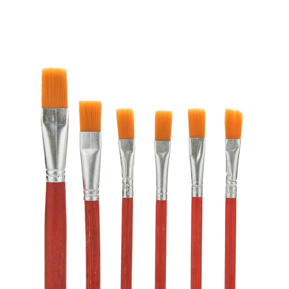 6 stks Student Kunstenaar Varkenshaar Haar Aquarel Kwast Set Voor Acryl Gouache Tekening Schilderij Borstel Art Supplies rood