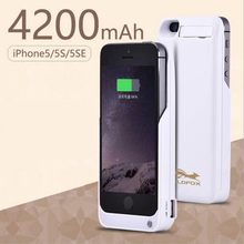 GOLDFOX 4200mAh External Battery Backup Charger Case Emergency Phone Battery Charger cover For iPhone 5 5s SE Power Bank case