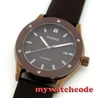 43 мм парный кофейный набор окошко даты ST Автоматическая резиновые мужские наручные часы 467