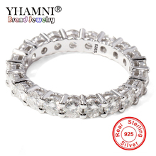 YHAMNI New Hot Fashion Real Solid 925 Silver Ring Luxury 0.1ct Round CZ Zircon Round Wedding Rings Jewelry Gift for Women RA028