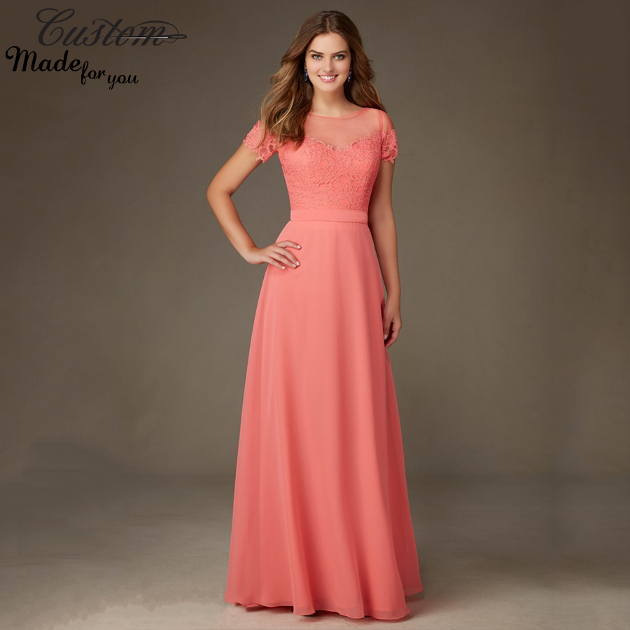 elegant wedding party long gowns lace cheap plus size coral colored modest bridesmaid dresses. Black Bedroom Furniture Sets. Home Design Ideas