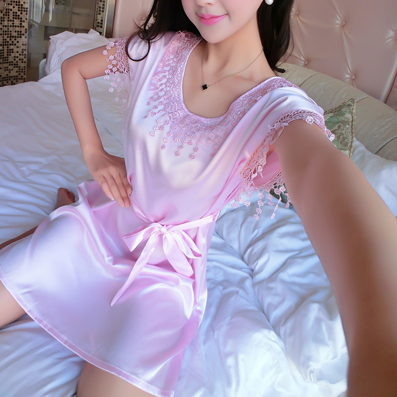2018 Summer Sexy Silk   Nightgown     Sleepshirts   Women Short-sleeves Sleepwear Lounge Casual Satin Silky Nightwear Female Dress
