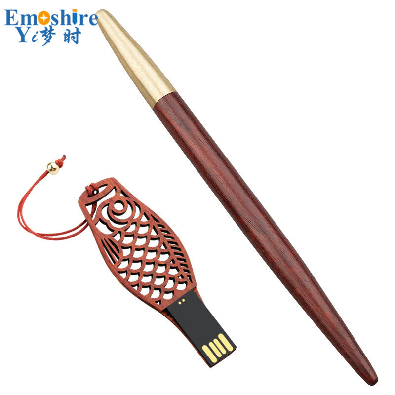 16 GB USB lecteur Flash en bois stylo à bille rouleau stylo à bille boîte étuis à crayons en métal stylo capuchon Logo personnalisé pour le bureau de l'école P578