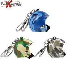 LJBKOALL Keychain Motorcycle Helmet super hero Cartoon Pendant Classic Key Ring Knight Hat Car Protective cap