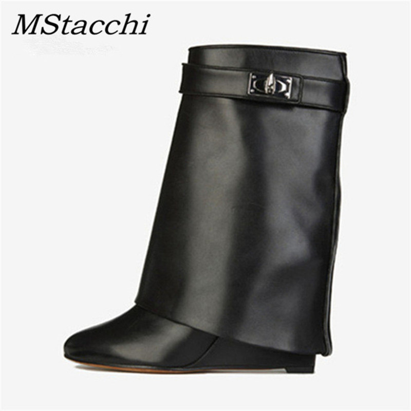 Mstacchi 2019 New Rose Shark Lock Genuine Leather Women Wedge Boots Height Increasing Fold Over High Boots Female Boots WedgesMstacchi 2019 New Rose Shark Lock Genuine Leather Women Wedge Boots Height Increasing Fold Over High Boots Female Boots Wedges