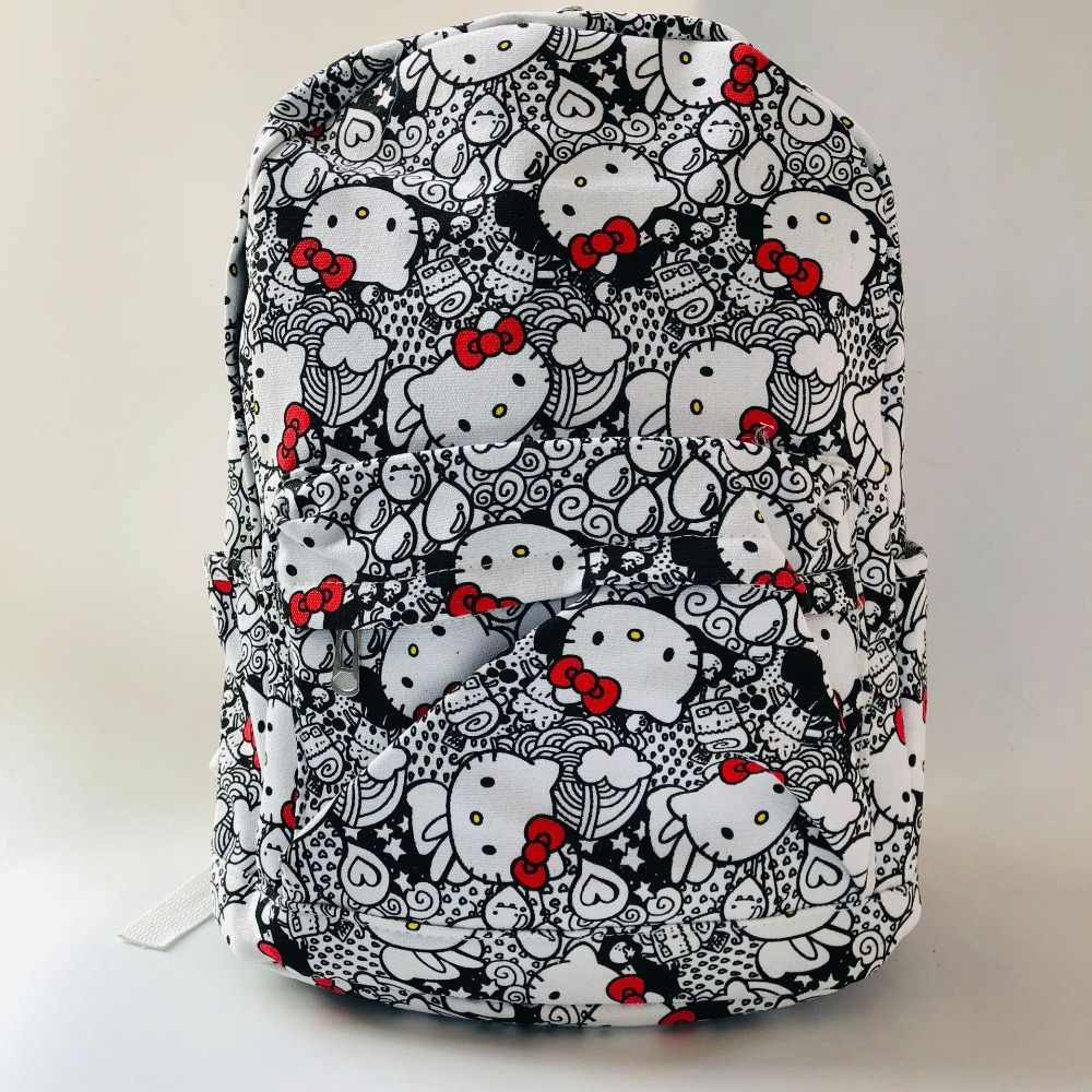 Olá Kitty Mochila de Lona Mulheres mochila bonito Mochila de Viagem Ombro mochila saco de livro Escola Bags para a menina Bagpack Mochila