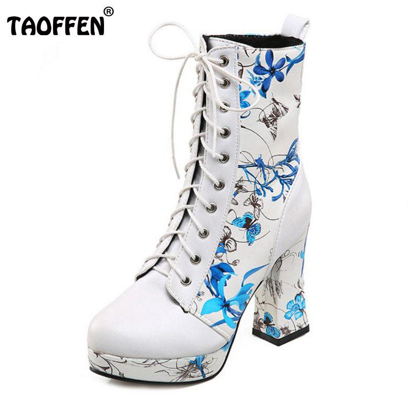 TAOFFEN Women Shoes Women Boots Lace Up High Heel Squared Heels Print Flowers With Fur New Design Fashion Footwear Size 33-43 top brand unique design black suede boots back front lace up fastening dress boots trendy ladies footwear thin high heel shoes