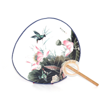 Chinese Traditional Culture Classical Round Silk Fans Portable Fan for gift Round Cool Summer Hand Fan Creative Party Gift