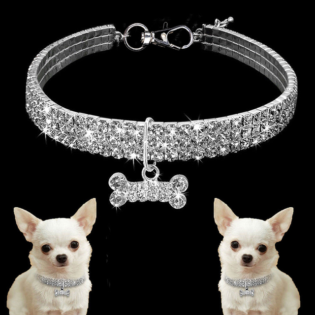 Exquisite Bling Crystal Dog Collar Diamond Puppy Pet Shiny Full Rhinestone Necklace Collar Collars for Pet Little Dogs Supplies 5