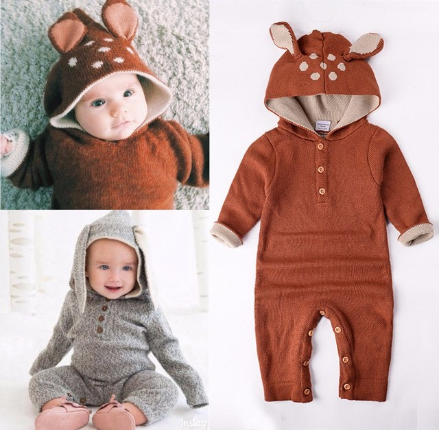 Wholesale 2017 Autumn Knitted baby boys girls clothes set long-sleeve Reindeer Newborn baby Romper jumpsuit roupas de bebe