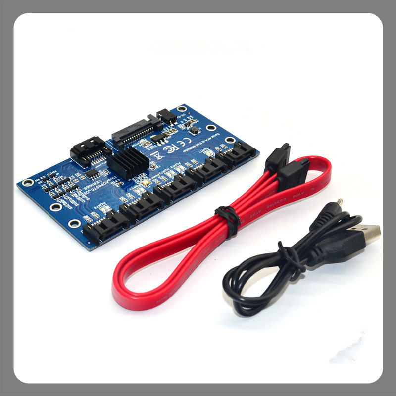 SATA 3.0 Expansion Card 1 to 5 Hard Drive Adapter Card Riser Motherboard 6Gbps Port PM Mutipliper IPFS for BTC Miner DIY