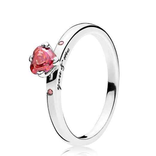 a73a83b31e7ca Original 925 Sterling Silver Ring Pandora Red Heart-shaped Crystal You & Me  Ring For Women Gift Fine Vanlentine's Day Jewelry