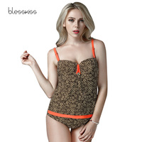 BLESSKISS 2018 New Retro One Piece Swimsuit Plus Size Swimwear Women Bathing Suit Vintage Tankini Swimsuit