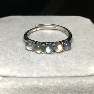 Image 3 - 925 Sterling Silver Gray Rainbow Ring Blue Labradorite Stone Fashion Semi precious Natural Gemstone Open Eternity Ring For Women