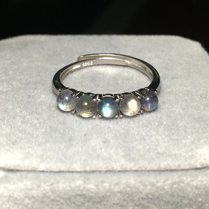 Image 3 - 925 סטרלינג כסף אפור קשת טבעת כחול ברדוריט אבן אופנה חצי יקר טבעי חן פתוח נצח טבעת לנשים