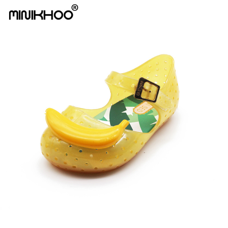 Mini Melissa Transparent Banana Cute Girls Jelly Sandals FURADINHA IX Sandals Girls Sandals Hollow Children Waterproof Shoes
