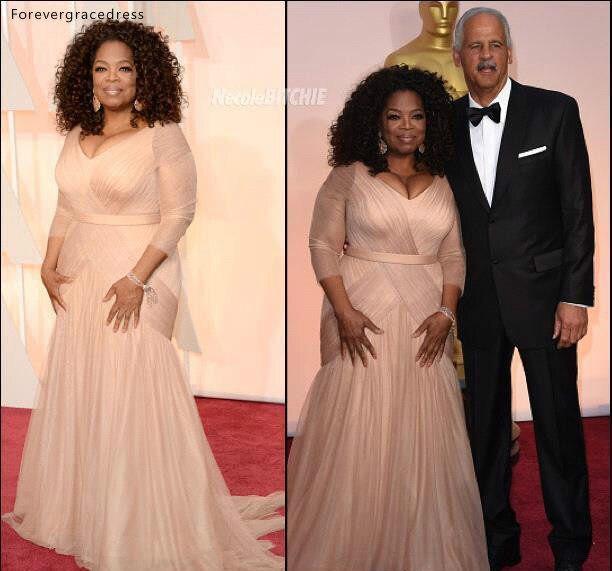 Oprah Winfrey Oscar Celebrity Dresses plus size v neck sheath chiffon with long sleeves mother of bride groom dresses BO9521 144 (9)