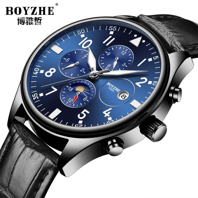 где купить luxury mens wristwatches mechanical Automatic black blue genuine leather man watches waterproof Moon Phase calendar brand boyzhe по лучшей цене