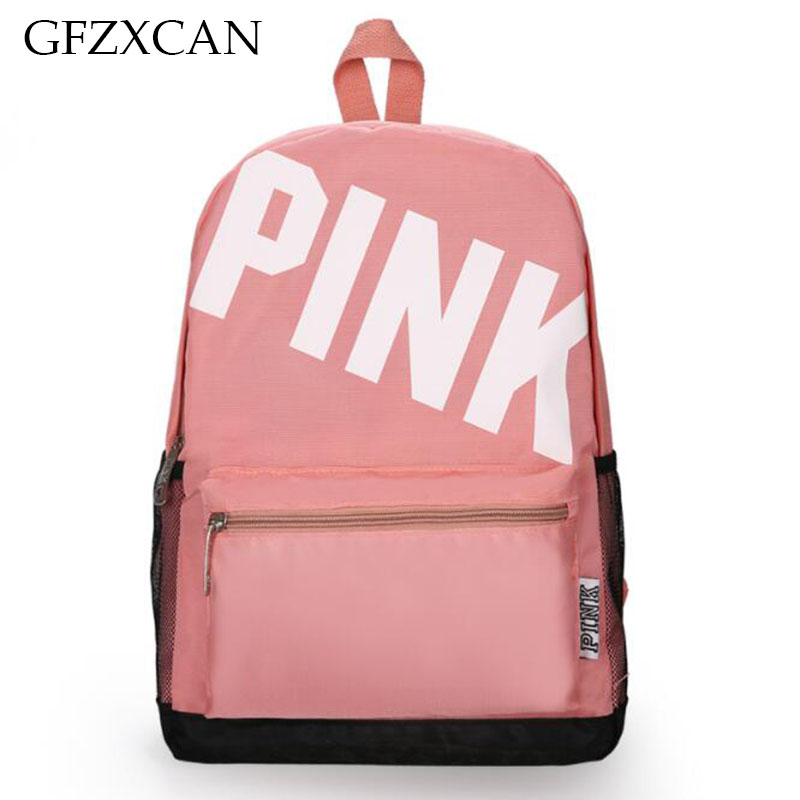 New PINK Printing Letter Shoulder Bag Light Casual Backpack Large Capacity Student Bag Outdoor Sports Backpack