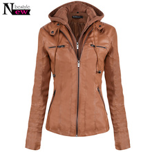 Fashion Autumn Winter Hoodie Women Leather Jacket Tops Ladies Front Pocket Slim Hat Detachable Jacket Female Soft Leather Coat