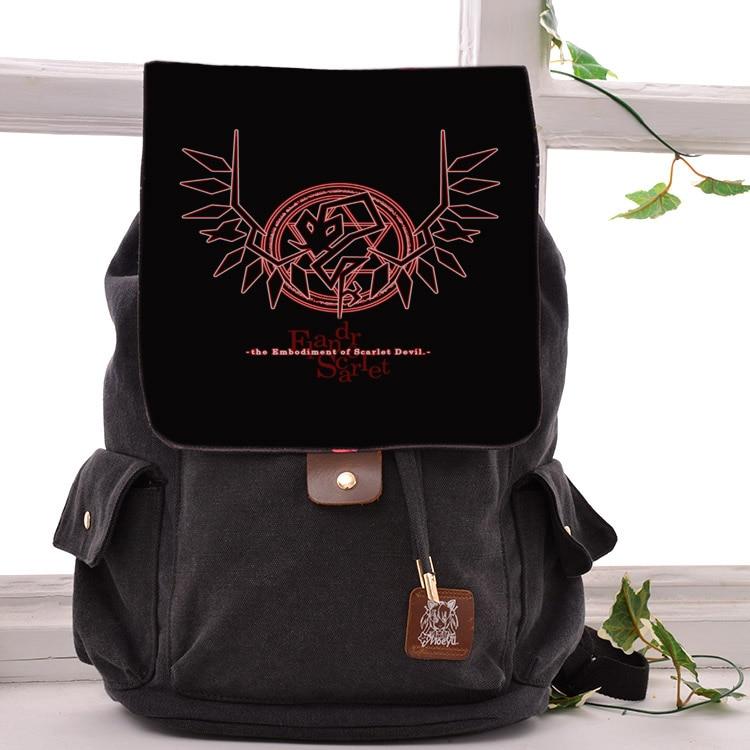 Cool Black Canvas Bag TouHou Project Tachibana Kanade Cosplay Backpack Kirishima Bags For Men Women School Bags cool devil cosplay cloak black size l