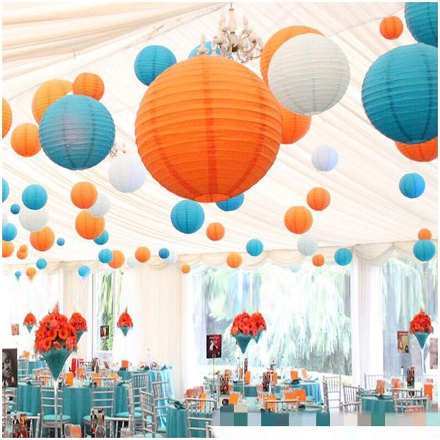 820cm Round Paper Lanterns Lamps Festival Wedding Decoration