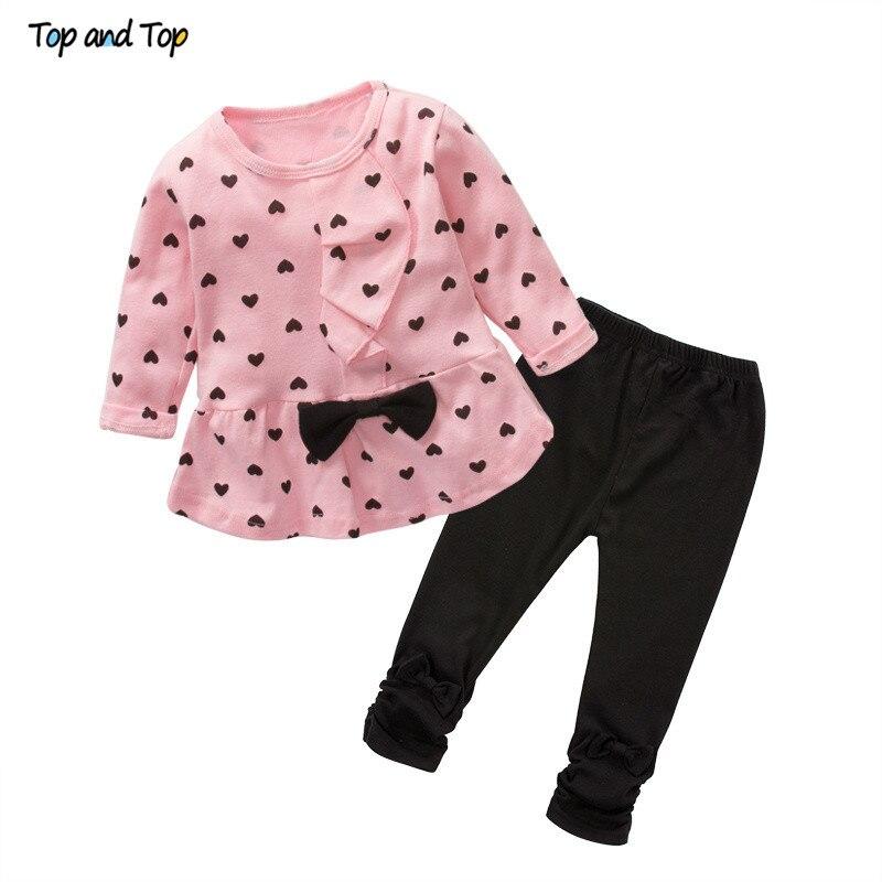 Newborn Clothing Baby-Girl-Set Heart-Shaped Pants T-Shirt Print Bow Cute 2PCS Kids