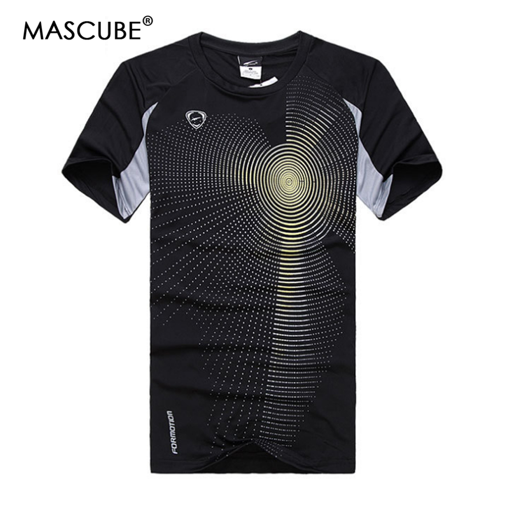 MASCUBE High Quality Men Short Sleeves Round Neck Quick Dry Summer Style Slim Fitness Workout T Shirt Camisetas