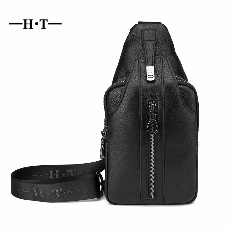 HT Cowhide Leather Chest Bag Men Crossbody Bags Black Messenger Bag Genuine Leather Chest Pack Travelling Letter Printed PacksHT Cowhide Leather Chest Bag Men Crossbody Bags Black Messenger Bag Genuine Leather Chest Pack Travelling Letter Printed Packs