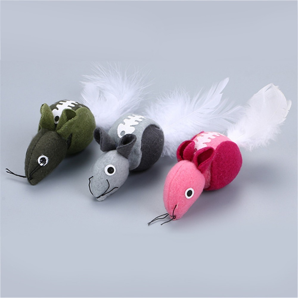 New LovelySmall toys Plush Mouse Cat Toys with Feather Tail and Cat Mint Pet Cat training Interactive Toys Cat Supplies