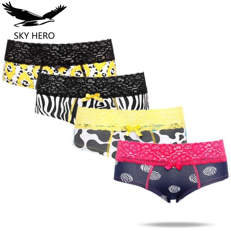4Pcs/lot SKYHERO   Panties   Lace Women Cotton Brief Underwear Breathable Ladies Underpants Female Woman Culotte Hero Crotchless