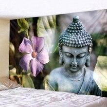 Flower Buddha Statue Prainted Plant Polyester Wall Hanging Tapestry Mandala Bohemia 5 Sizes Travel Sleeping Pad Fabric