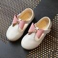 Crianças meninas shoes 2017 primavera arco princesa shoes crianças moda bebê único menina shoes partido bonito sapato de couro estudante