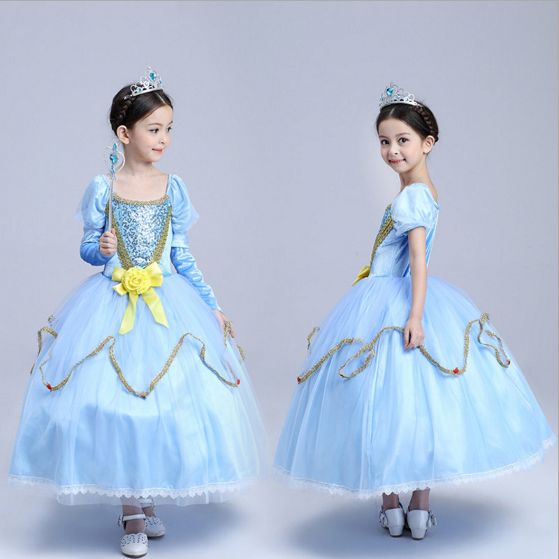 Sandy Princess Cinderella Cosplay Costume for Kids Girls Party Fancy Dress Gown