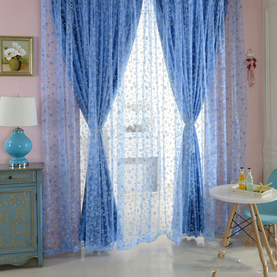 Bedroom door curtains - Hot Sale Blue Shimmery Circle Pattern Printed Fashionable Curtain Voile Door Window Sheer Beautiful Curtain For