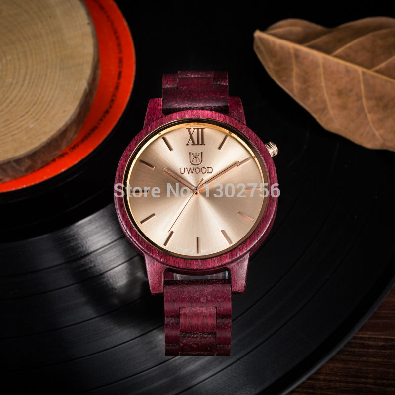 Uwood Simplify Men Purple Heart Sandal Wood Watch Fashion Purple Color Wooden Watches For Mens Luxury Dress Wristwatch Gift