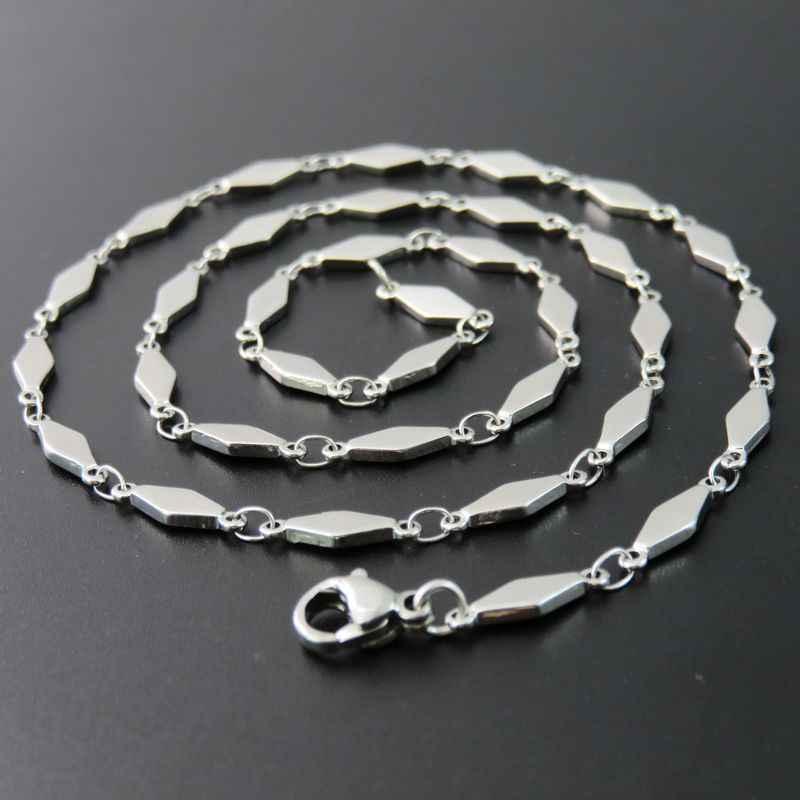 e0e9ce8e9c17 3.8 мм Серебряный тон Нержавеющая сталь Для женщин и Человек цепи Цепочки и  ожерелья, мода