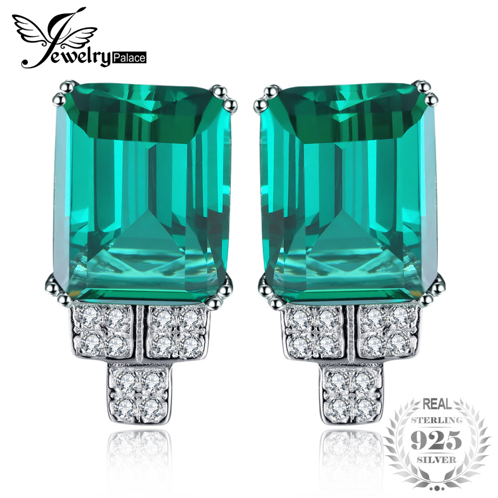Jewelrypalace 6ct Princess Created Emerald Clip On Earrings Solid 925 Sterling Silver 2018 Fine Jewelry For Women