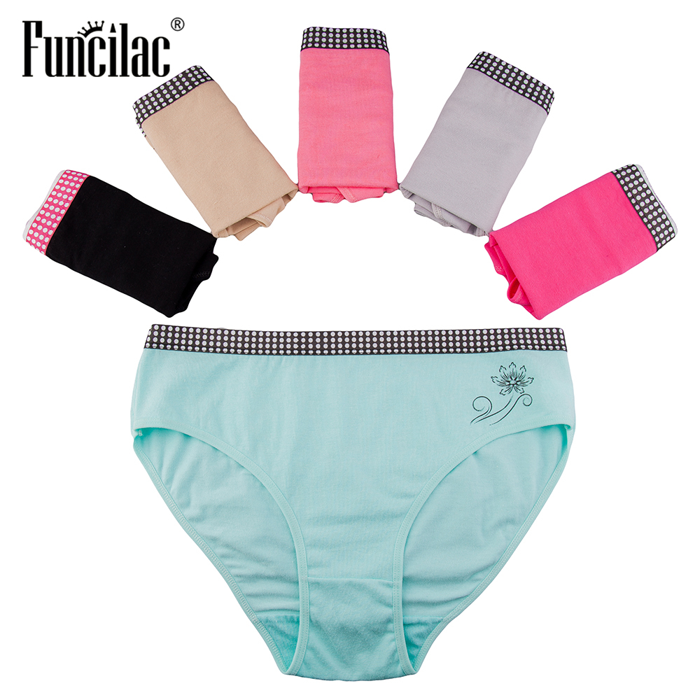 FUNCILAC Women's Underwear Plus Size Briefs Solid Female Knickers Briefs For Women Cotton Fashion Girls Cozy   Panties   5Pcs/Lot